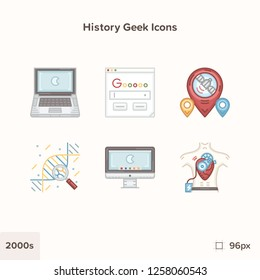 Modern technology and history icons 2000s. Technology and Science