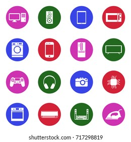 Modern Technology Icons. White Flat Design In Circle. Vector Illustration.
