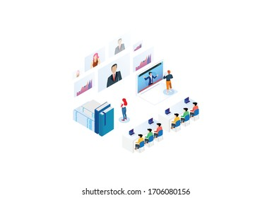 Modern Technology Isometric Smart Online Webinar Training Technology Illustration in White Isolated Background With People and Digital Related Asset