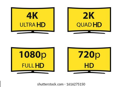 Modern technology signs. 4k ultra hd , 2k quad hd , 1080p full hd and 720p hd.  Vector illustration symbol Monitor display Label