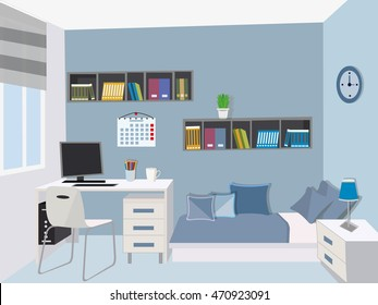 Modern teenage room . Stylish interior with colored furniture - bed, computer desk , computer, bookshelf , nightstand . Flat style vector illustration.