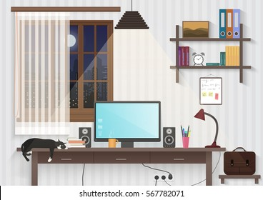 Modern teenager guy room with workplace. Male man desktop workplace computer in the modern office or home