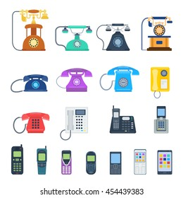 Modern telephones and vintage old retro style phones vector isolated on white background. Blue, yellow, red and black communication tools