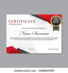 Modern template certificate design with red, white and black color
