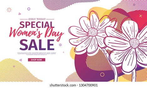 Modern Template design for 8 march event.  Promotion banner  for international women's day offer with flower decoration.  Line illustration blossom floral with abstract geometric shape sale. Vector.