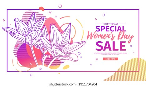Modern Template design for 8 march event.  Promotion banner  for international women's day offer with flower decoration.  Line illustration lily blossom with abstract geometric shape for sale. Vector.