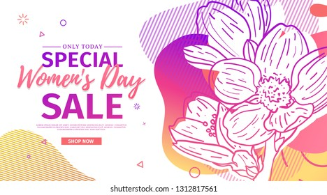 Modern Template design for 8 march event.  Promotion banner  for international women's day offer with flower decoration.  Line illustration blossom with abstract geometric shape for sale. Vector.