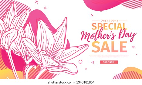 Modern Template design for Mom day banner. Promotion layout for mother's day offer with flower decoration. Line illustration  floral blossom with abstract geometric shape for sale. Vector