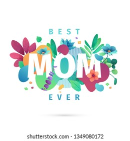 Modern Template design for Mom day banner. Promotion layout for mother's day offer with flower decoration. Simple illustration  floral blossom with abstract geometric shape for sale. Vector