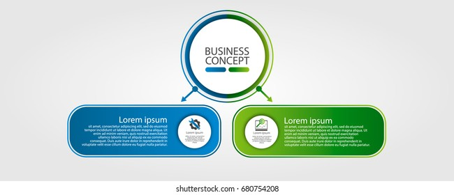 Modern template for infographic circles. Template for graphics, presentation, business, web design, reports. Colorful chart with 2 steps, parts by stages. Two circles with space for text and icons.