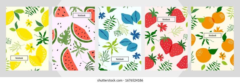 Modern template peach apricot plum strawberry watermelon lemon citrus orange vector notebook background.