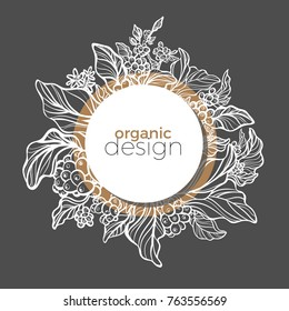 Modern template with white and black design organic product. Symbol nature card of coffee branch with art line leaf, bean and flower. Trendy frame with geometric of circle. Vector real illustration