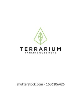 Modern terrarium natural leaf icon design logo concept icon template