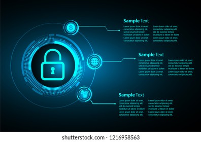 modern text box template for website computer graphic technology, banner infographics. security key
