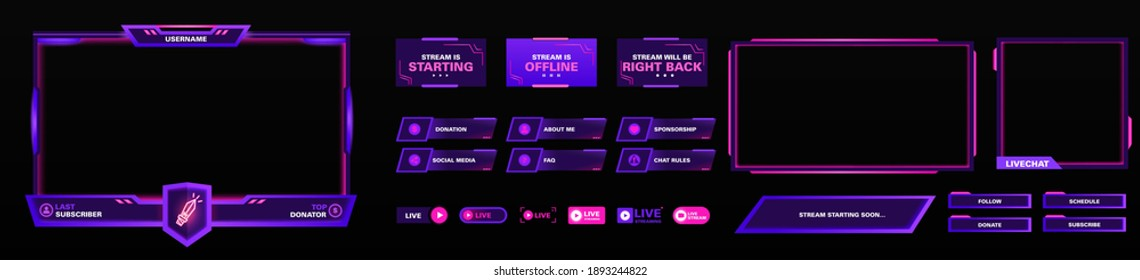 The modern theme for screen panel . The overlay frame set design template for games streaming. Vector violet and pink futuristic design.