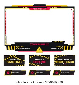 The modern theme for twitch screen panel . The overlay frame set design template for games streaming. Vector yellow and red danger design.