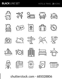 Modern thin black line icons set of  hotel & travel. Premium quality outline symbol set. Simple linear pictogram pack. Editable line series