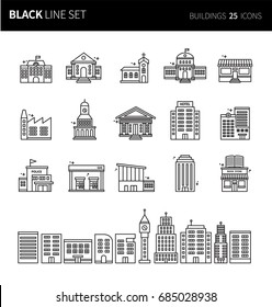 Modern thin black line icons set of buildings. Premium quality outline symbol set. Simple linear pictogram pack. Editable line series