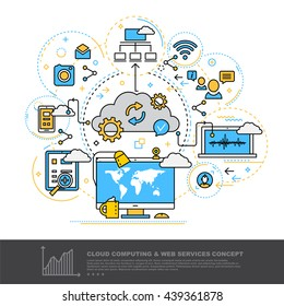 Modern Thin Contour Line Design Concept of Cloud Computing and Web Services.  Banner for application development, web and mobile application technologies,  information and social media. Vector