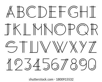 Modern thin double line font, alphabet elegant design, vector