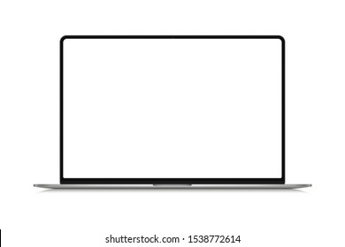 Modern thin frame realistic laptop, notebook or ultrabook mockup for inserting any UI interface advertisment or business presentation isolated vector illustration.