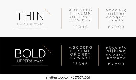 Modern thin line alphabet letters font set. Minimal urban lettering designs typography fonts simple style, regular uppercase, lowercase and number. vector illustration