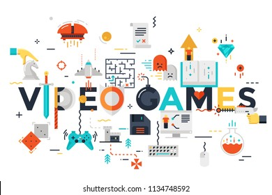 Modern thin line banner of classic game objects, mobile gaming elements. Vector illustration concept of word video games for website and mobile web banners, easy to edit, customize and resize.