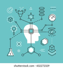 Modern Thin Line Concept of Artificial Intelligence and Data Science Technology. Simple vector linear flat style infographics