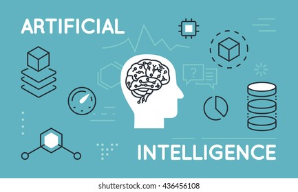 Modern Thin Line Concept of Artificial Intelligence, Functions and Capabilities. Thin line flat design infographics banner for website and mobile website, easy to use