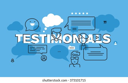 Modern thin line design concept for testimonials website banner. Vector illustration concept for ratings and advertising of products and services, company or product presentation.
