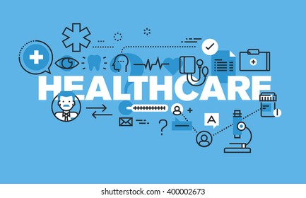 Modern thin line design concept for HEALTHCARE website banner. Vector illustration concept for healthcare diagnosis and treatment.