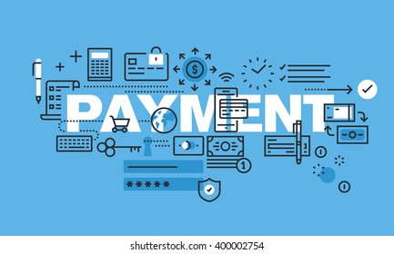 Modern thin line design concept for PAYMENT website banner. Vector illustration concept for shopping, payment method, e-banking.