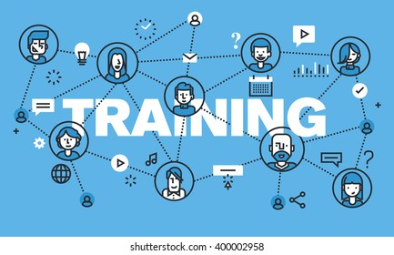 Modern thin line design concept for TRAINING website banner. Vector illustration concept for online training, distance education, modern way of acquiring knowledge through the internet.