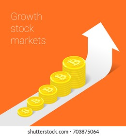 Modern thin line design concept for GROWTH bitcoin website banner. Vector illustration concept for business success, financial results, banking, earnings growth and revenue, stock market. Orange.