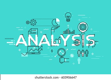 Modern thin line design template for analysis website banner. Vector illustration concept for business analysis, market research, product testing, data analysis.