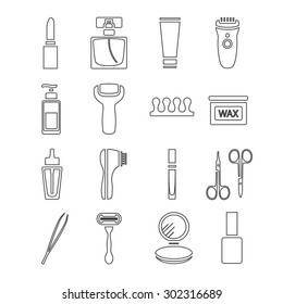 Modern thin line flat vector cosmetic, beauty and makeup icons. Design elements set for website isolated on white background. Scissors, wax, eyebrow tweezers, epilator, razor, perfume, nail polish.