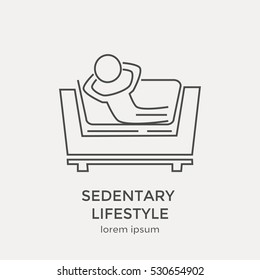 Modern thin line icon, concept of sedentary lifestyle.  Flat design web graphic element.
