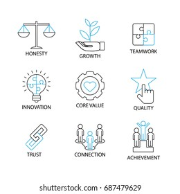 Modern Thin Line Icon and Pictogram, Business Core Value Concept, Flat thin line designed vector Illustrator