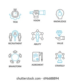 Modern Thin Line Icon or Pictogram with word task,vision,knowledge,recruitment,ability,value,brainstorm,agreement,strategy. Business and Management Concept.