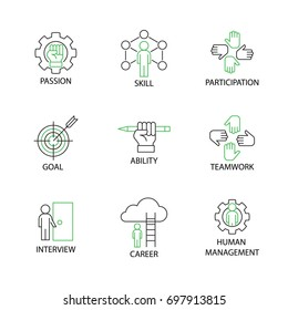 Modern Thin Line Icon or Pictogram with word Passion,Skill,Participation,Goal,Ability,Teamwork,Interview,Career,Human Management. Business and Management Concept.Editable Stroke.