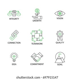 Modern Thin Line Icon or Pictogram with word integrity,vision,growth,connection,quality,teamwork,commitment,idea,goal. Business Core Value Concept. Editable Line Stroke.