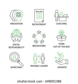Modern Thin Line Icon or pictogram with word Coaching,Brainstorm,Innovation,Social Responsibility,Recruitment,Think Out of the Box,Invisible Leader,Searching,Growth. Business Concept.Editable Stroke.