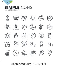 Modern thin line icons of environment and green energy. Premium quality outline symbol collection for web design, mobile app, graphic design. Mono linear pictograms, infographics and web elements pack