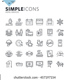 Modern thin line icons of hotel services and booking. Premium quality outline symbol collection for web and graphic design, mobile app. Mono linear pictograms, infographics and web elements pack.