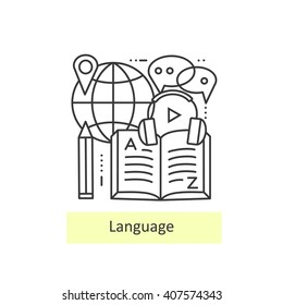 Modern thin line icons of learning foreign languages, language training school. Concept of a collection of vectors.