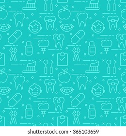 Modern thin line icons seamless pattern for dental care web graphics and design. Vector illustration