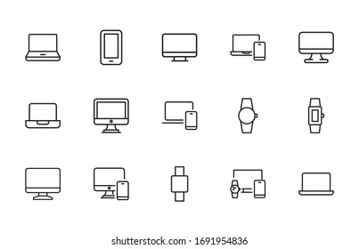 Modern thin line icons set of devices. Premium quality symbols. Simple pictograms for web sites and mobile app. Vector line icons isolated on a white background.