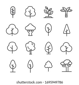 Modern thin line icons set of tree. Premium quality symbols. Simple pictograms for web sites and mobile app. Vector line icons isolated on a white background.