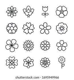 Modern thin line icons set of flower. Premium quality symbols. Simple pictograms for web sites and mobile app. Vector line icons isolated on a white background.