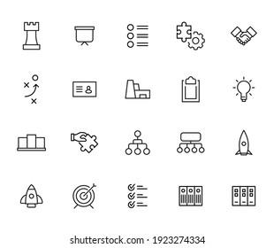 Ensemble d'icônes modernes de ligne mince de gestion. Symboles de qualité supérieure. Des pictogrammes simples pour les sites web et les applications mobiles. Icônes vectorielles en ligne isolées sur fond blanc.